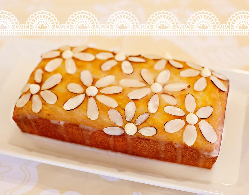 Lemon Pound Cake with Almond Flowers