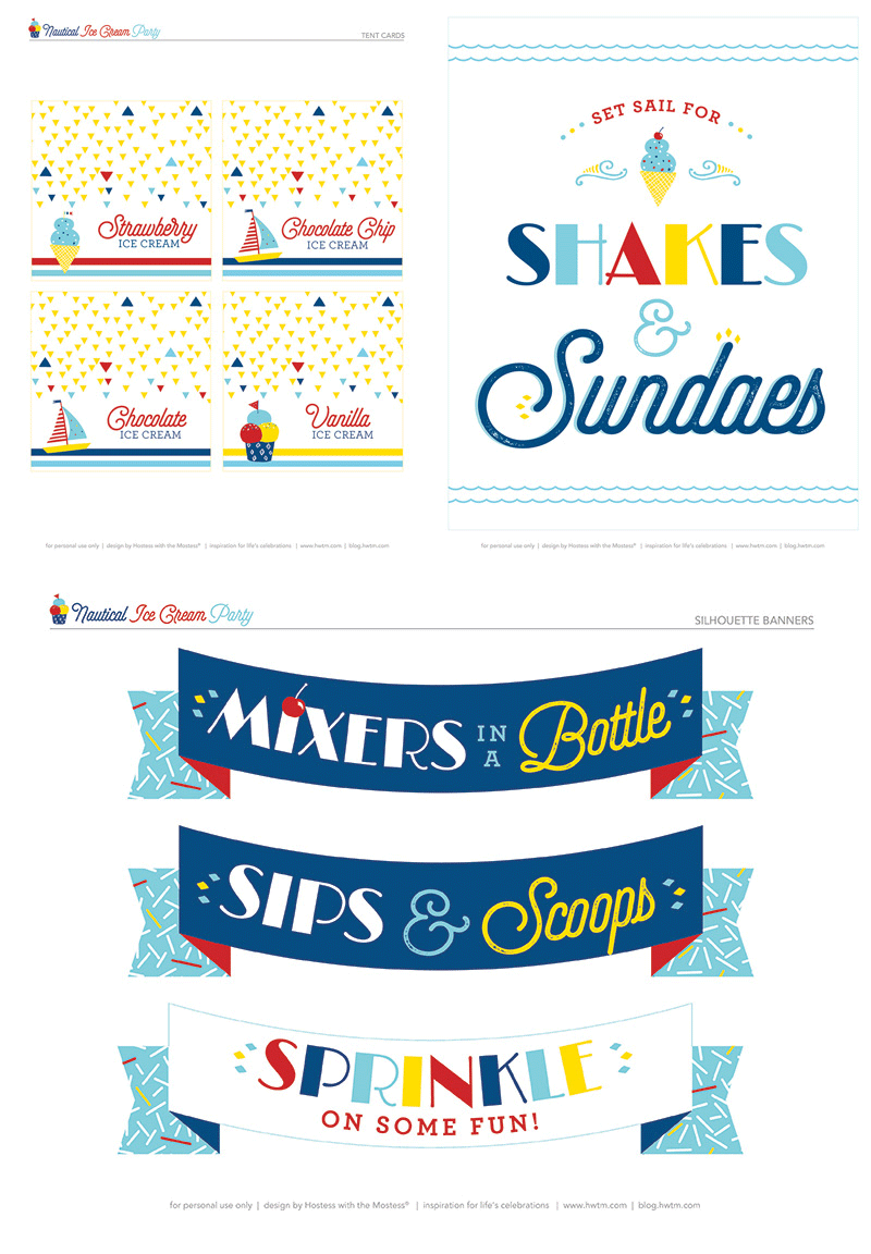free nautical ice cream party printables