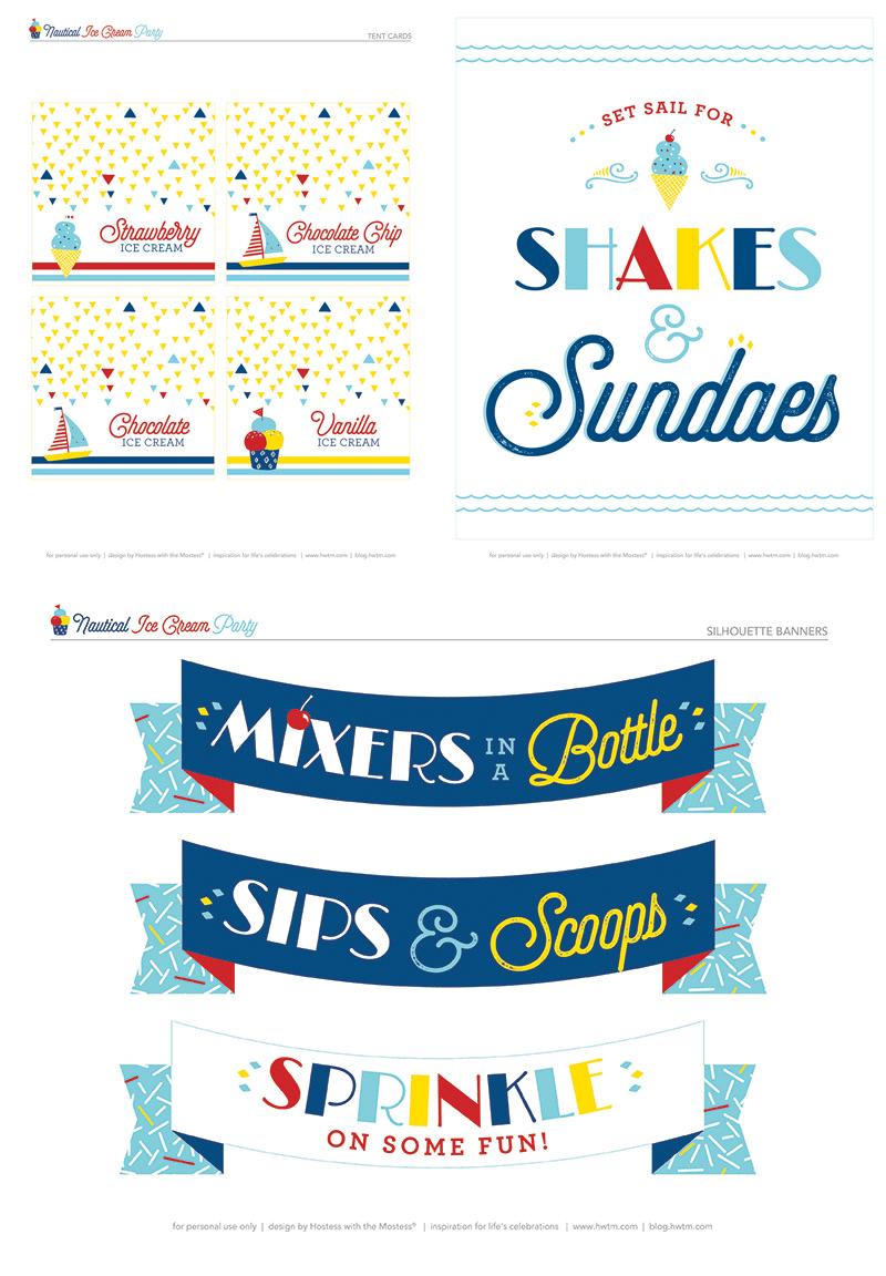 free nautical ice cream party printables