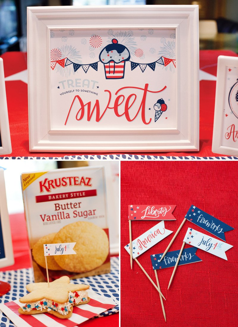 patriotic printables - sweets sign and party flags