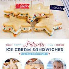 patriotic cookie ice cream sandwiches stars