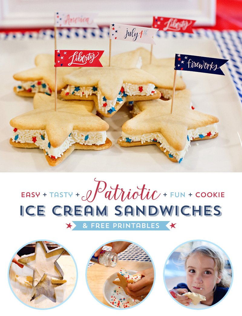 Patriotic Sugar Cookie Ice Cream Sandwiches + FREE 4th of July Party Printables