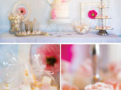 shabby chic first communion dessert table
