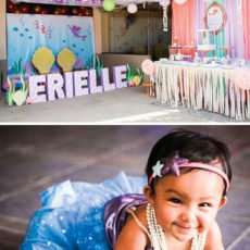 under the sear mermaid themed first birthday party