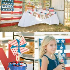vintage Americana dessert table and pinwheel cookies