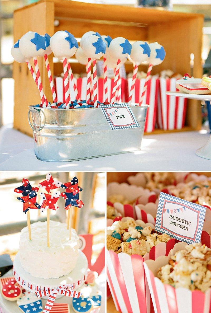pinwheel cake, Americana cake pops, and patriotic popcorn