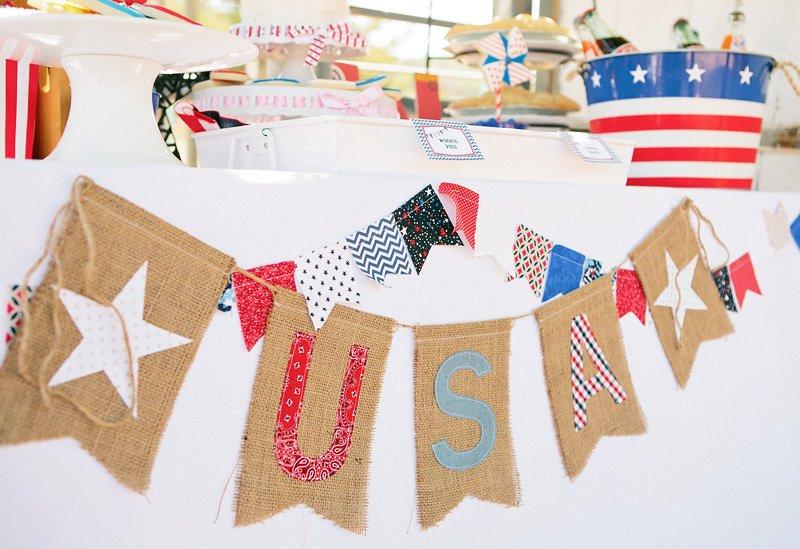 vintage Americana burlap banner