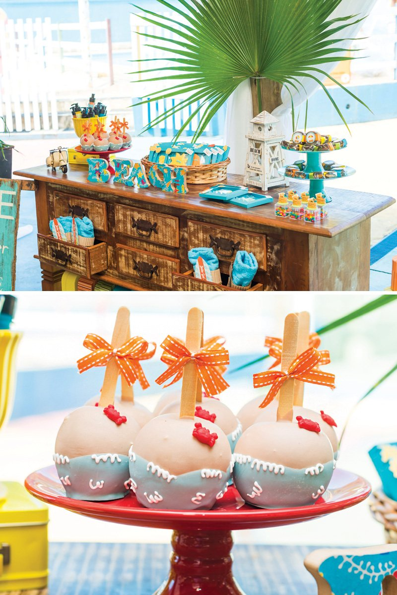 beach birthday party candy apples