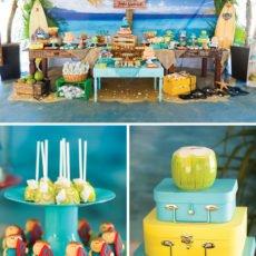 beach themed birthday party dessert table