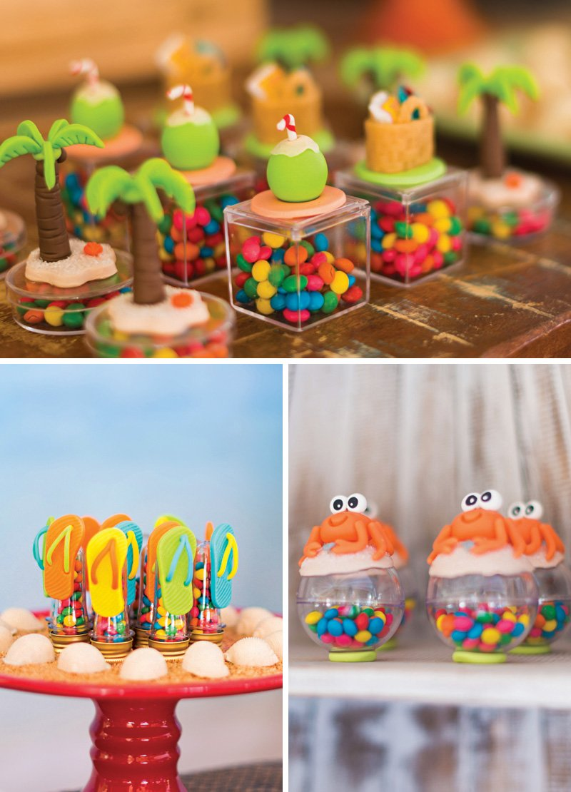 beach themed fondant toppers