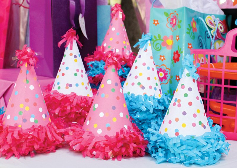 polka dot party hats - animal cookie colors