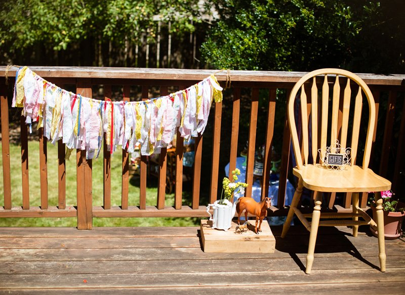 country tea party fabric banner