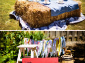 country tea party hay bale table