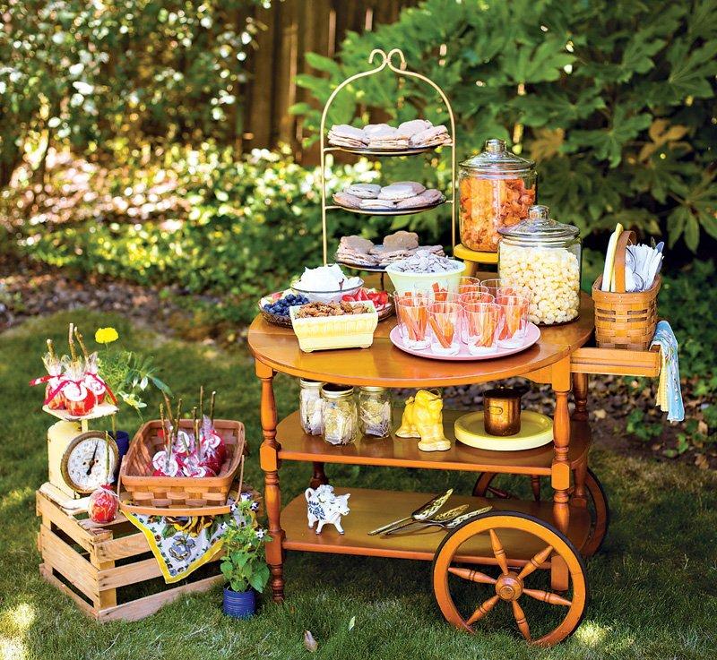 vintage serving cart snack table