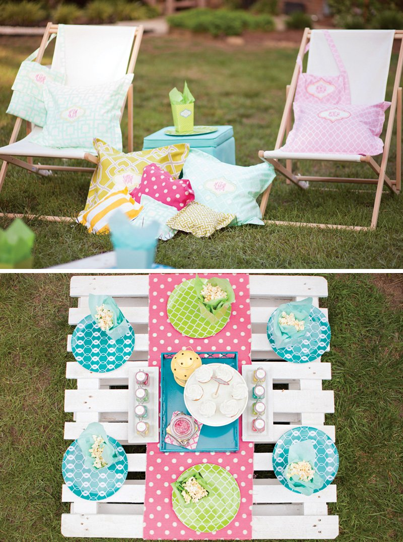 custom outdoor birthday party lounge area