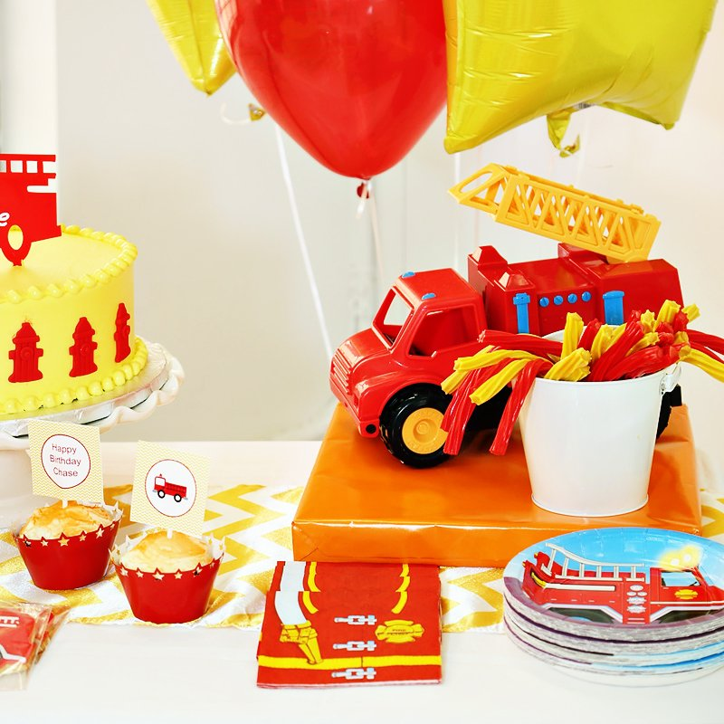 Red Yellow Rad Fireman 3rd Birthday Party Hostess With The