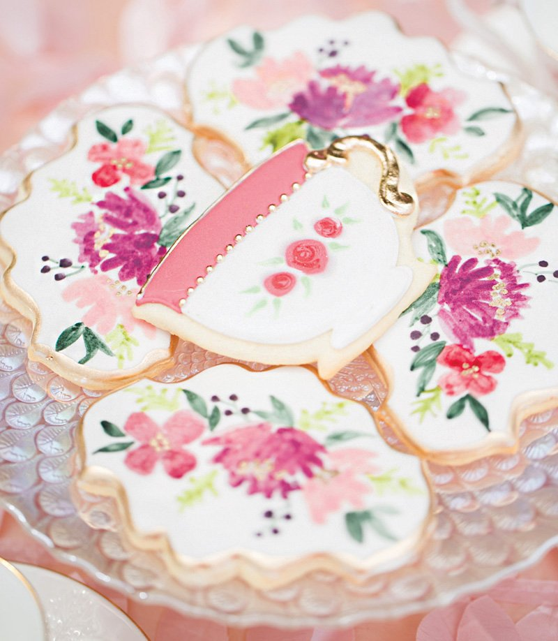 floral painted tea party cookies