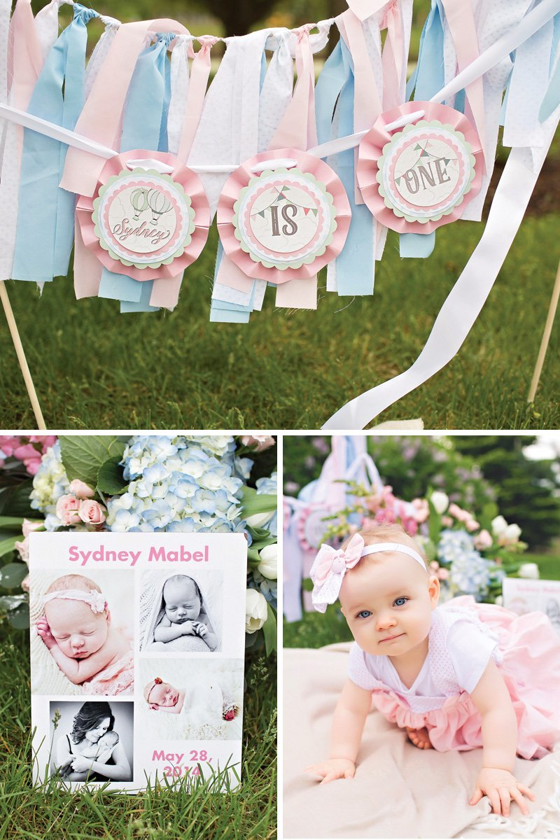 girl's pink first birthday party decor