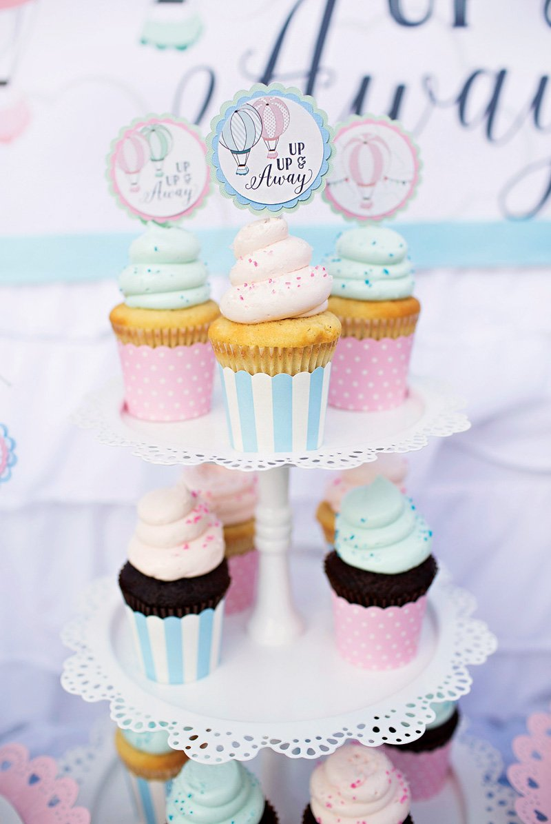 up up and away hot air balloon cupcake toppers