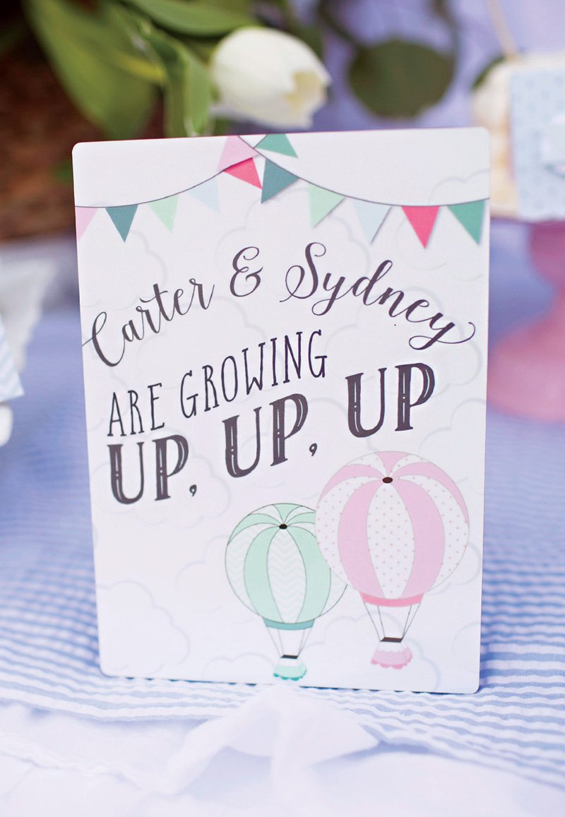 up up and away hot air balloon birthday party invitation