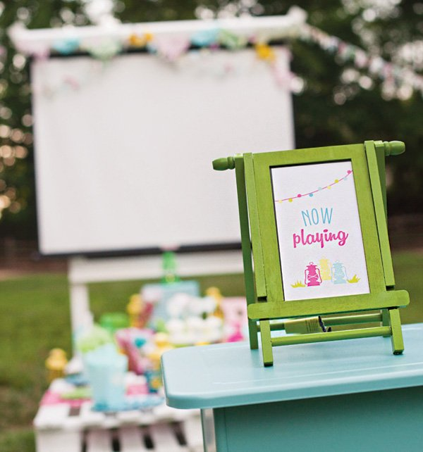 outdoor movie birthday party sign