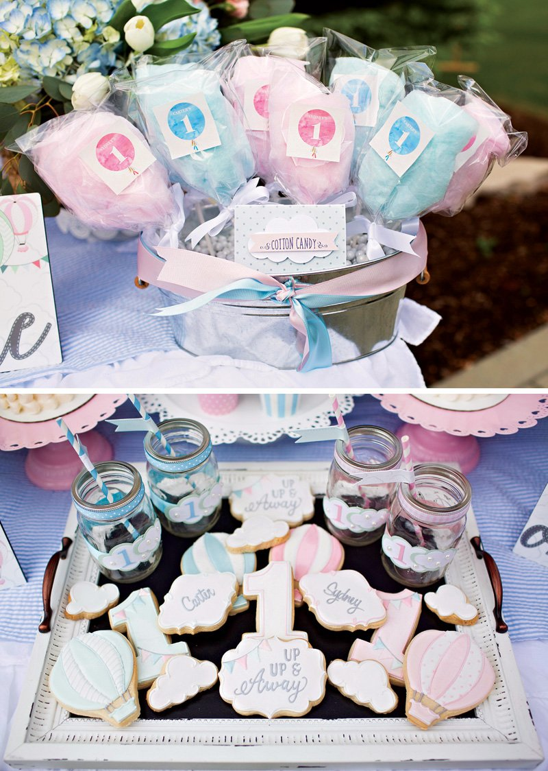 pink and blue twins' birthday party dessert ideas