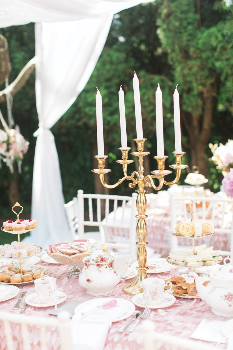 pink and gold birthday party tablescape