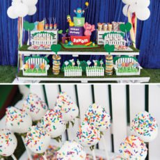 pocoyo in the park birthday party dessert table