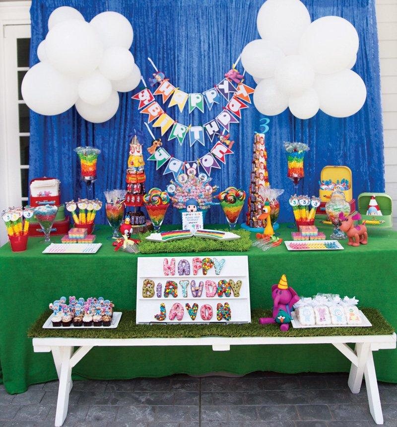 rainbow birthday party dessert table