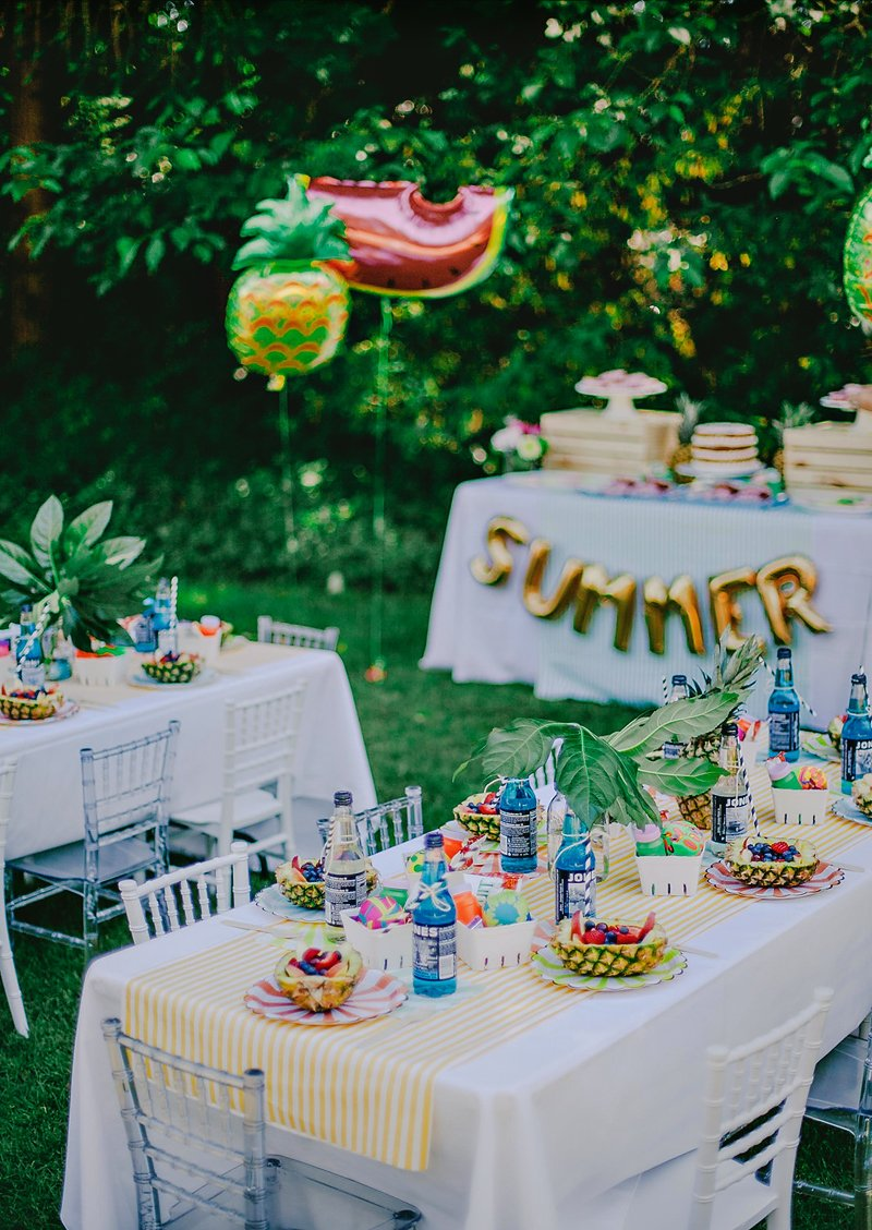 Colorful chic fruity summer kids party hostess with for Kids birthday decorations at home