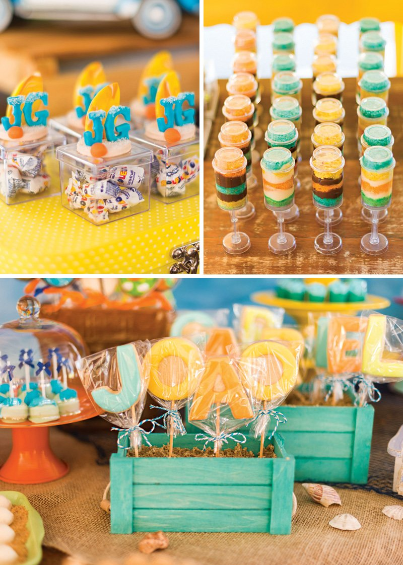 teal, yellow and orange party desserts and decor