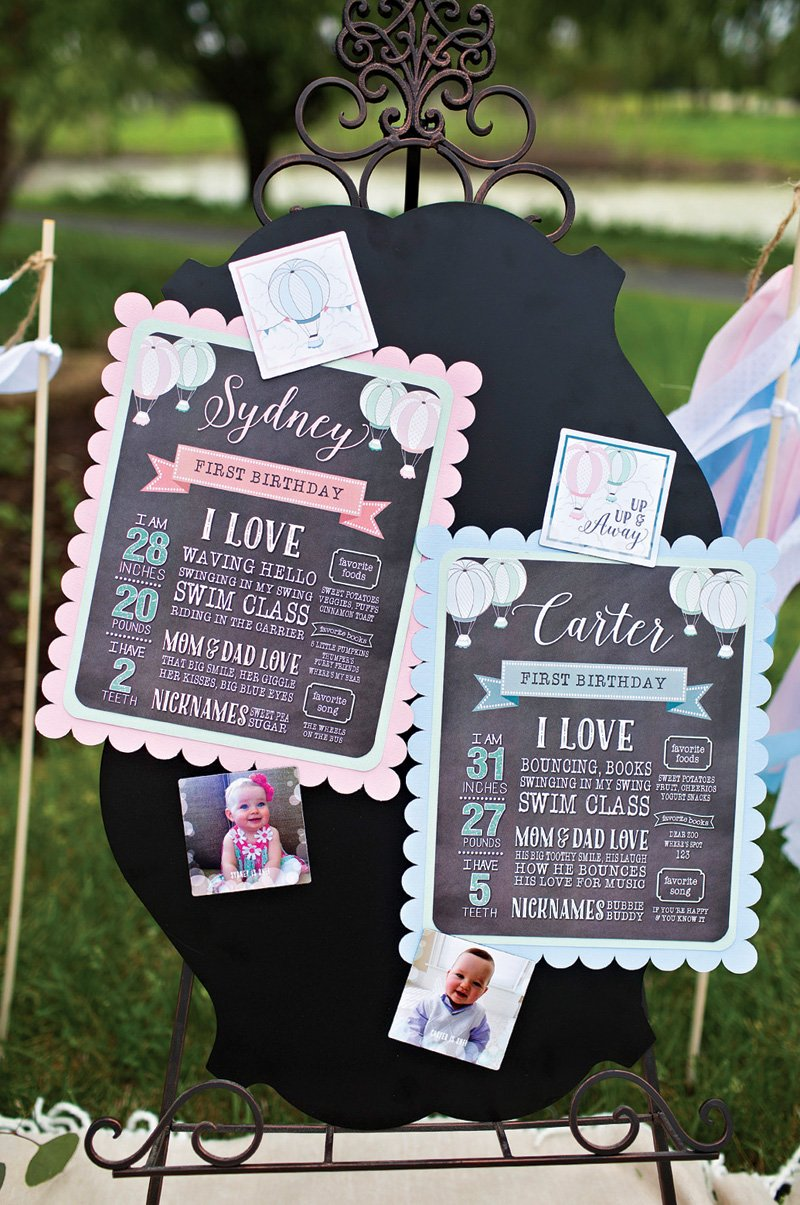 twins' first birthday party signs