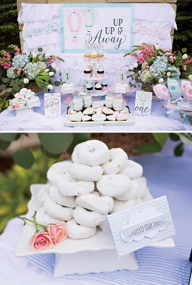 up up and away hot air balloon themed dessert table