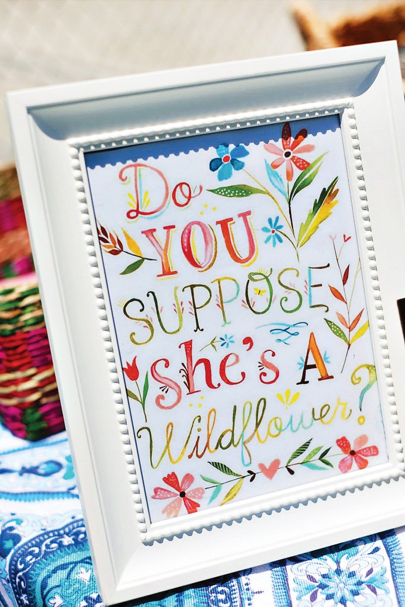 bohemian wildflower quote sign