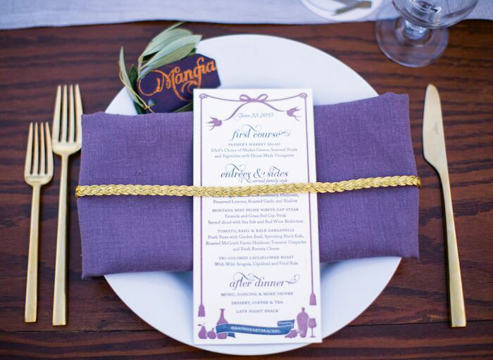 wine themed wedding place setting