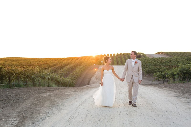 vineyard wedding bride and groom photos