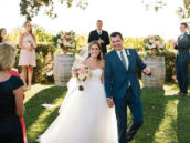 vineyard wedding bride and groom ceremony shot