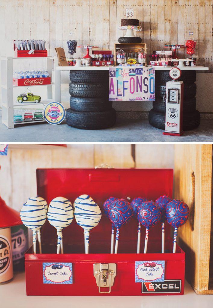 adult garage mechanic birthday party dessert table