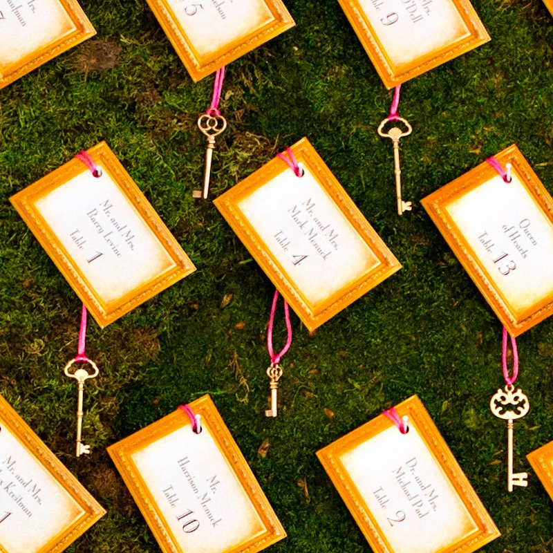Alice in Wonderland Table Escort Cards - Vintage Keys
