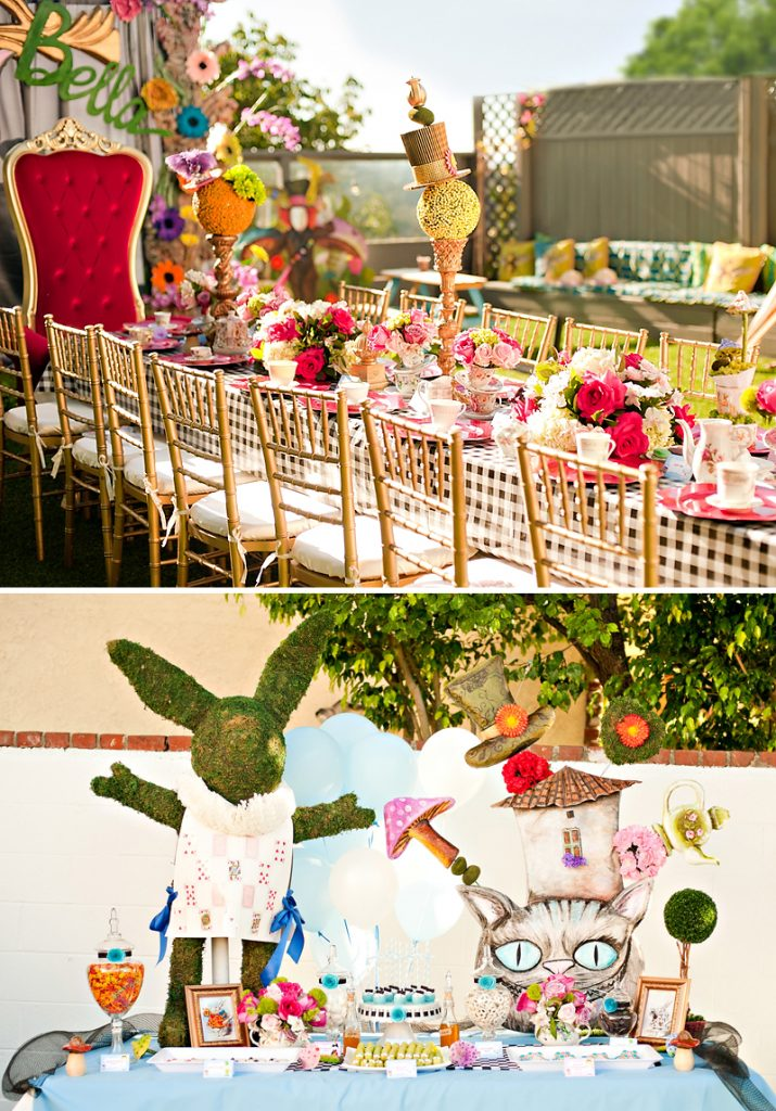 Elegant Alice in Wonderland Tablescape and Dessert Table