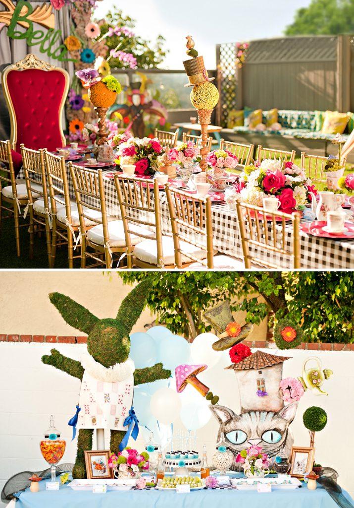Elegant Alice in Wonderland Tablescape and Dessert Table