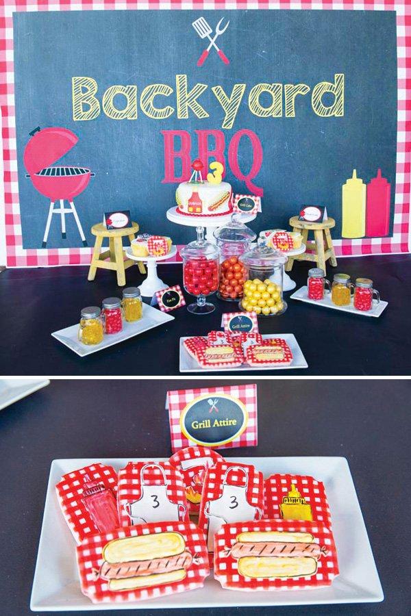 backyard bbq birthday party desserts table
