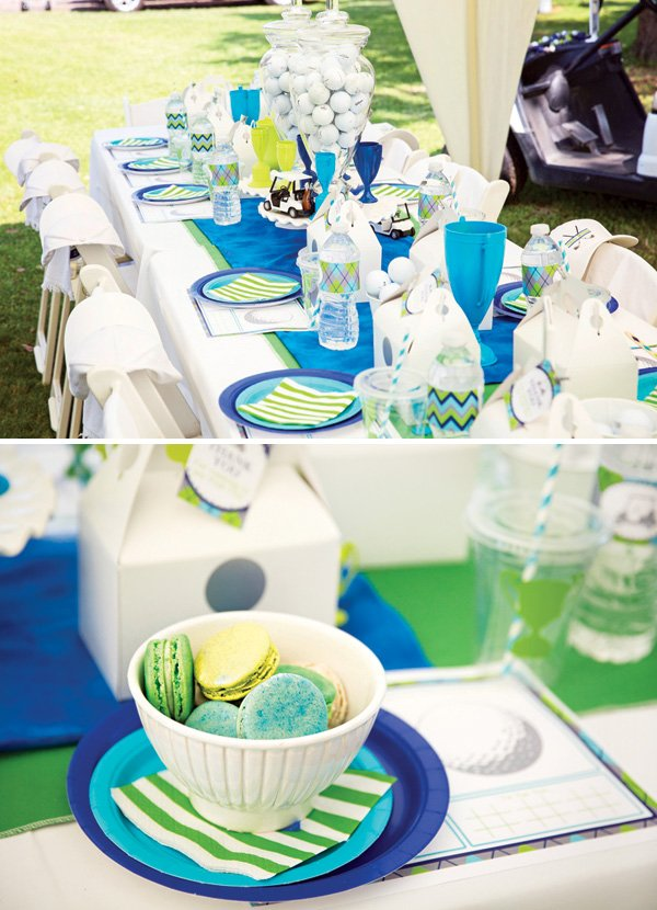 boy's blue and green birthday party tablescape