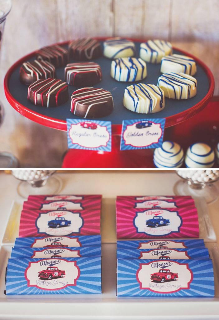 blue and red birthday party desserts
