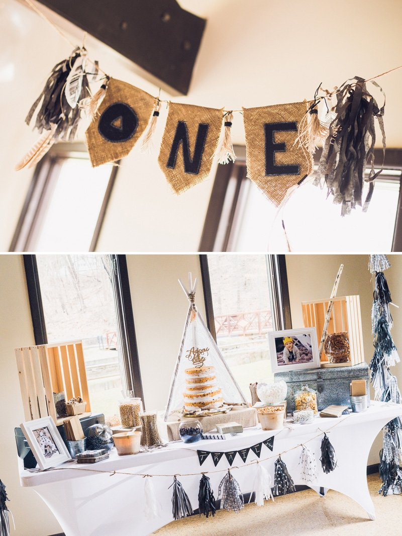 Modern + Boho Style Camping 1st Birthday Party // Hostess with the ...