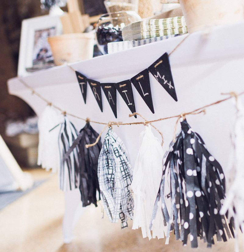 black and white tissue pom garland