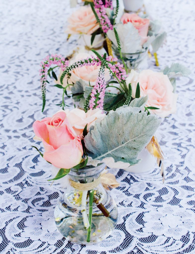 pink gold lace party flowers boho chic