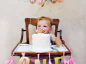pink and gold first birthday decorations - smash cake