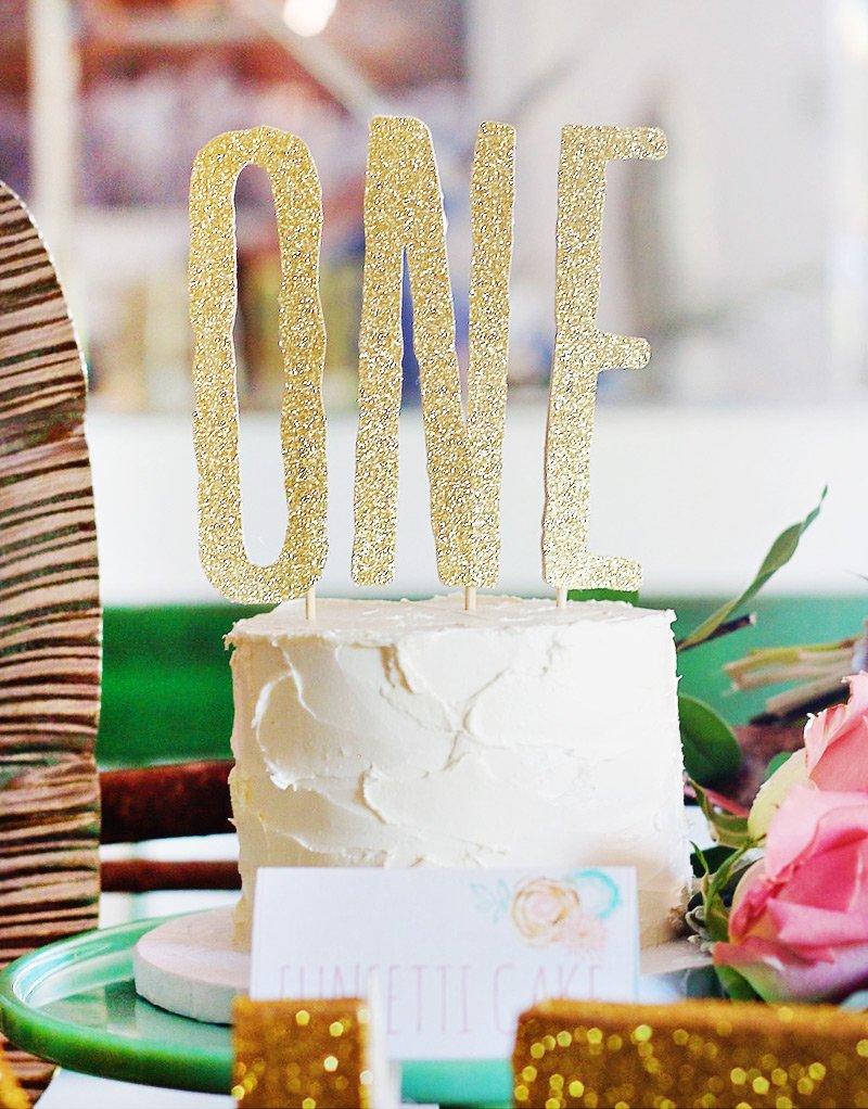 gold glitter ONE cake topper and white smash cake