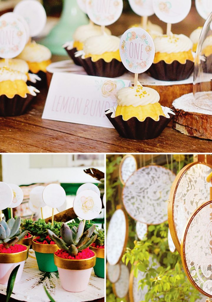 boho chic cupcakes and party decorations